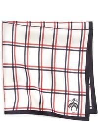 Pochette de costume écossaise blanc et rouge