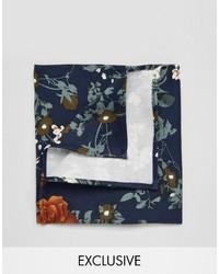 Pochette de costume en coton à fleurs bleu marine Reclaimed Vintage