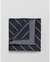 Pochette de costume en coton à rayures horizontales bleu marine Jack and Jones