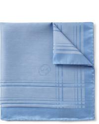 Pochette de costume en coton écossaise bleu clair Gucci