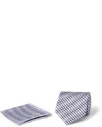 Pochette de costume en coton écossaise grise Brioni