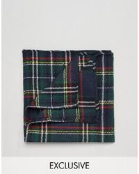 Pochette de costume en coton écossaise vert foncé Reclaimed Vintage