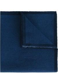 Pochette de costume en coton en pied-de-poule bleu marine Eleventy