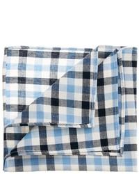 Pochette de costume en coton en vichy blanc et bleu Asos