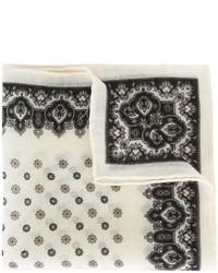 Pochette de costume en laine à fleurs blanche Canali