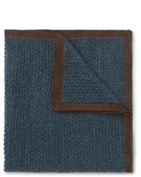 Pochette de costume en laine bleu marine Brioni