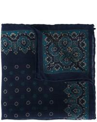 Pochette de costume en laine bleu marine Canali