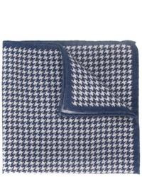 Pochette de costume en laine en pied-de-poule bleue Eleventy
