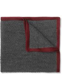 Pochette de costume en laine grise Brioni