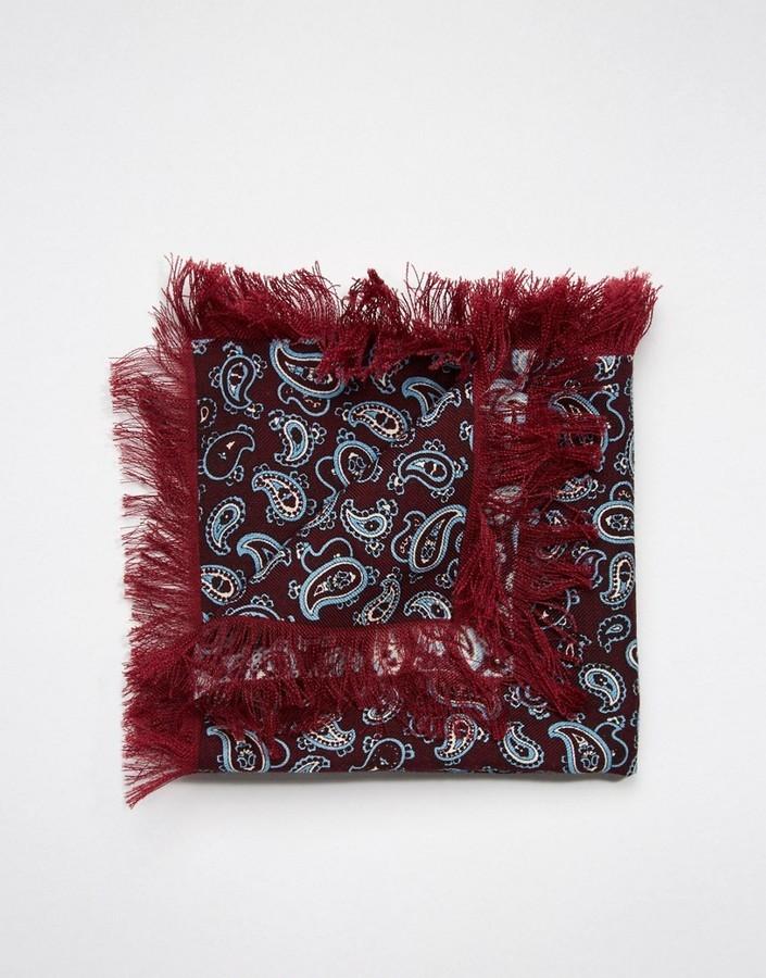 Pochette de costume en laine imprimée cachemire bordeaux Asos