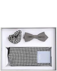 Pochette de costume en pied-de-poule noire et blanche