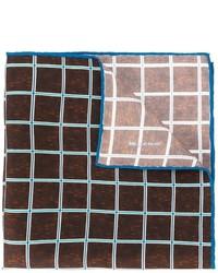 Pochette de costume en soie à carreaux brune foncée Kiton
