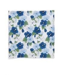 Pochette de costume en soie à fleurs bleu clair