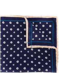 Pochette de costume en soie à fleurs bleu marine fe-fe