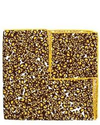 Pochette de costume en soie à fleurs jaune