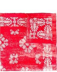 Pochette de costume en soie à fleurs rouge Kiton