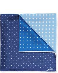 Pochette de costume en soie á pois bleu clair Lanvin