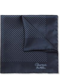Pochette de costume en soie á pois bleu marine Charvet