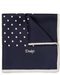 Pochette de costume en soie á pois bleu marine Drakes