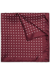 Pochette de costume en soie á pois bordeaux
