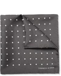 Pochette de costume en soie á pois gris foncé Turnbull & Asser
