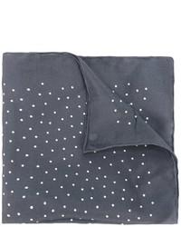 Pochette de costume en soie á pois grise foncée Lanvin