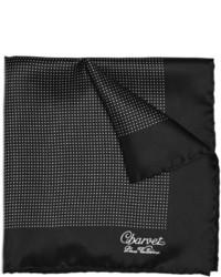 Pochette de costume en soie á pois noire et blanche
