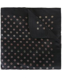 Pochette de costume en soie á pois noire Paul Smith