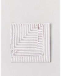 Pochette de costume en soie à rayures horizontales beige Selected