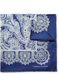 Pochette de costume en soie blanc et bleu Turnbull & Asser