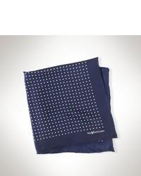 Pochette de costume en soie bleu marine et blanc