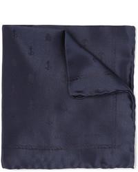 Pochette de costume en soie bleu marine Alexander McQueen