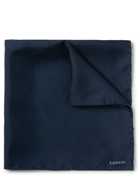 Pochette de costume en soie bleu marine Lanvin