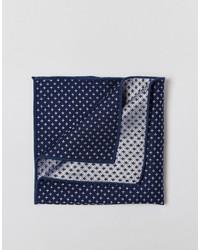 Pochette de costume en soie bleu marine Selected