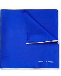Pochette de costume en soie bleue