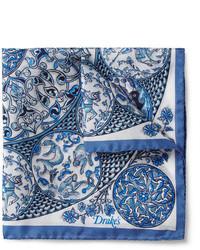 Pochette de costume en soie bleue Drakes