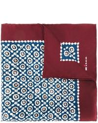 Pochette de costume en soie géométrique bleu marine Kiton