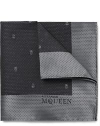 Pochette de costume en soie gris foncé Alexander McQueen