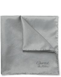 Pochette de costume en soie gris Charvet