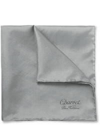Pochette de costume en soie grise Charvet