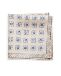 Pochette de costume en soie imprimée beige