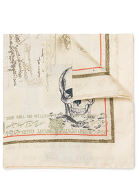 Pochette de costume en soie imprimée beige Alexander McQueen