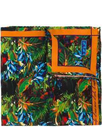 Pochette de costume en soie imprimée bleu canard fe-fe