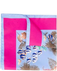 Pochette de costume en soie imprimée bleu clair Kiton