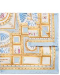 Pochette de costume en soie imprimée bleu clair Rubinacci