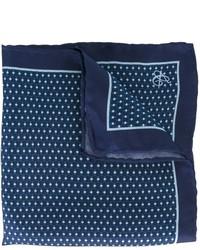 Pochette de costume en soie imprimée bleu marine Canali