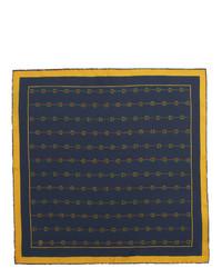 Pochette de costume en soie imprimée bleu marine Gucci