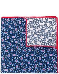Pochette de costume en soie imprimée bleu marine Kiton