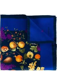 Pochette de costume en soie imprimée bleue marine
