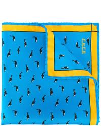 Pochette de costume en soie imprimée bleue fe-fe